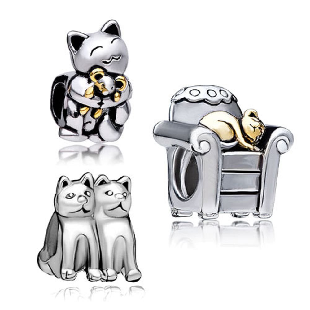UniqueenJewellery Smiling Cat Hugging Mouse Animal Charm Beads fit Bracelet Sale