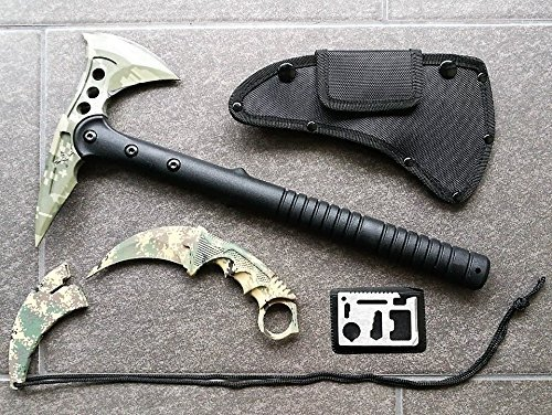 *3er Counter-Strike Set* CAMO Tomahawk M48 Combat Beil / Axt / Wurfaxt + CS-GO Counter-Strike CAMO Full-Tang Karambit-Messer + 12in1 Survival-Card