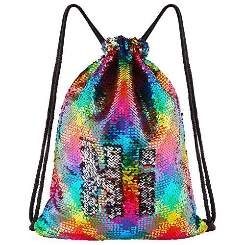 (DrCosy Meerjungfrau Pailletten Tasche Kordelzug Pailletten Rucksack Glitter Meerjungfrau Rucksäcke Magie Tanz Taschen für Kinder Erwachsene (35X45cm,Bunte Welle/Silber))