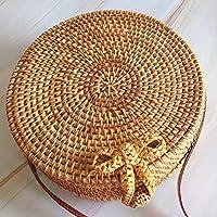 Flower205 Bohemia Style - Bolso de mano para mujer, diseño vintage, de paja de ratán, redondo, bolsa de playa para el hogar, bolsa de almacenamiento, ideal para guardar bolsas de playa, regalos, etc.