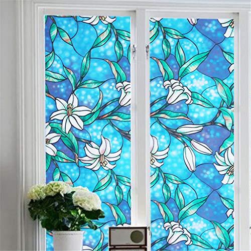 DIKHBJWQ PVC Lily Static Window Film Kein Klebstoff abziehbar Glasmalerei Aufkleber/PVC-Farbe Lilie Orchidee elektrostatische Fensterfolie (Glasmalerei-film Für Windows)