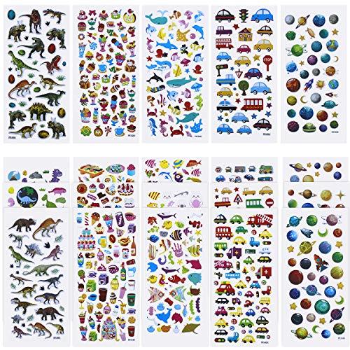 20 Blatt 3D Aufkleber für Kinder & Kleinkinder 1000+ Geschwollen Stickers Niedliche Verschiedene Set Buchstab en, Zahlen, Schmetterlinge, Fische, Dinosaurier und vieles mehr (Viel Zahlen Mehr)