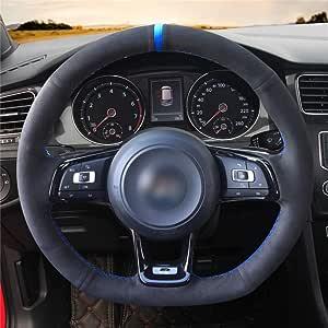 Hcdswsn Diy Hand Nähen Auto Lenkradabdeckung Schwarz Für Vw Vw Golf 7 Gti Golf R Mk7 Vw Polo Gti Scirocco 2015 2016 Sport Freizeit