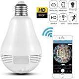 Finicky-World Wireless Panoramic Bulb 360° IP Camera ,960P Fisheye Vision, Remoting Monitoring Home Security Camera LED Bulb