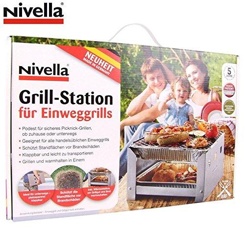 61scNRGm0HL - Nivella Grill Station +5x Einweggrill Picknick Holzkohlegrill Einmalgrill Metall