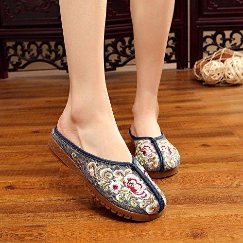 DESY scarpe ricamate, unico tendine, stile etnico, femminile infradito, moda, comodi, sandali casuali Grey