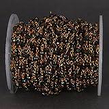 5pieds Noir spinelle Doré revêtu Chaîne à billes–Perles de verre 3ailette Fil de fer enroulé Plaqué or 24K Chapelet Style Chaîne