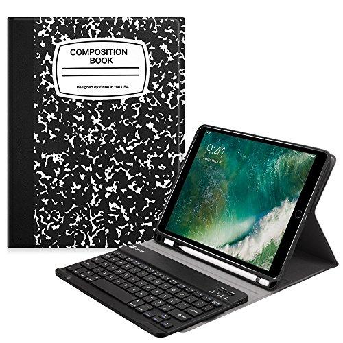 Fintie Tastatur Hülle für iPad 9.7 2018, Soft TPU Rückseite Abdeckung Schutzhülle Keyboard Case mit eingebautem Pencil Halter, magnetisch Abnehmbarer drahtloser Deutscher Tastatur, Notizblock