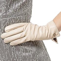 Las mujeres de piel de cordero de cuero italianoNappaglo Guantes invierno caliente simple largo forro polar guantes touchscreen (L (Palm:19-20.3cm), blanco (no táctil))