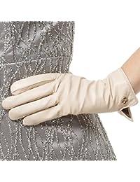 641d3c4c352 Las mujeres de piel de cordero de cuero italianoNappaglo Guantes invierno  cálido forro polar guantes touchscreen