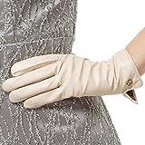 Nappaglo Damen Italienisches Lammfell Leder Handschuhe Touchscreen Winter Warm Langes Fleecefutter Handschuhe (M (Umfang der Handfläche:17.8-19.0cm), Weiß(Non-Touchscreen))