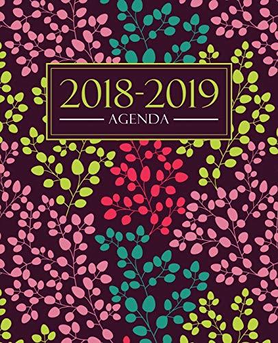 Agenda 2018-2019: 19x23cm agenda 2018-2019 semainier : motif floral tendance, jaune, rose, bleu canard et corail par Papeterie Bleu