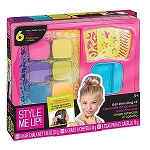 Style Me Up- Tiza para cabello para niñas - 6 Colores con kit de plantillas - Tinte temporal para cabello no tóxico - regalos perfectos para navidad y cumpleaños - SMU-1685