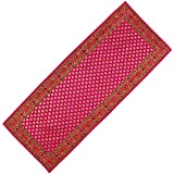 Brocart De Soie Art Indien Décoration Table Runner Rouge Violet 35 X 182 Cm