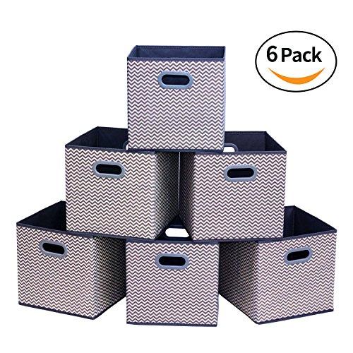 Homyfort Caja de Almacenaje con 6 pcs, Set de 6 Cajas de juguetes, Caja de Tela para Almacenaje, 30 x 30 x 30 cm, zigzag gris / blanco, XBB06P