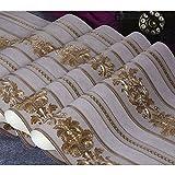 Kaluori 32,8 Ft x1.738ft Luxus Metallic Gold Strukturierte Damast Tapete Home Raum Wand Papier Rollen für Wohnzimmer, Schlafzimmer, Bars