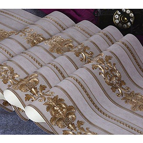 Kaluori 32,8 Ft x1.738ft Luxus Metallic Gold Strukturierte Damast Tapete Home Raum Wand Papier Rollen für Wohnzimmer, Schlafzimmer, Bars -