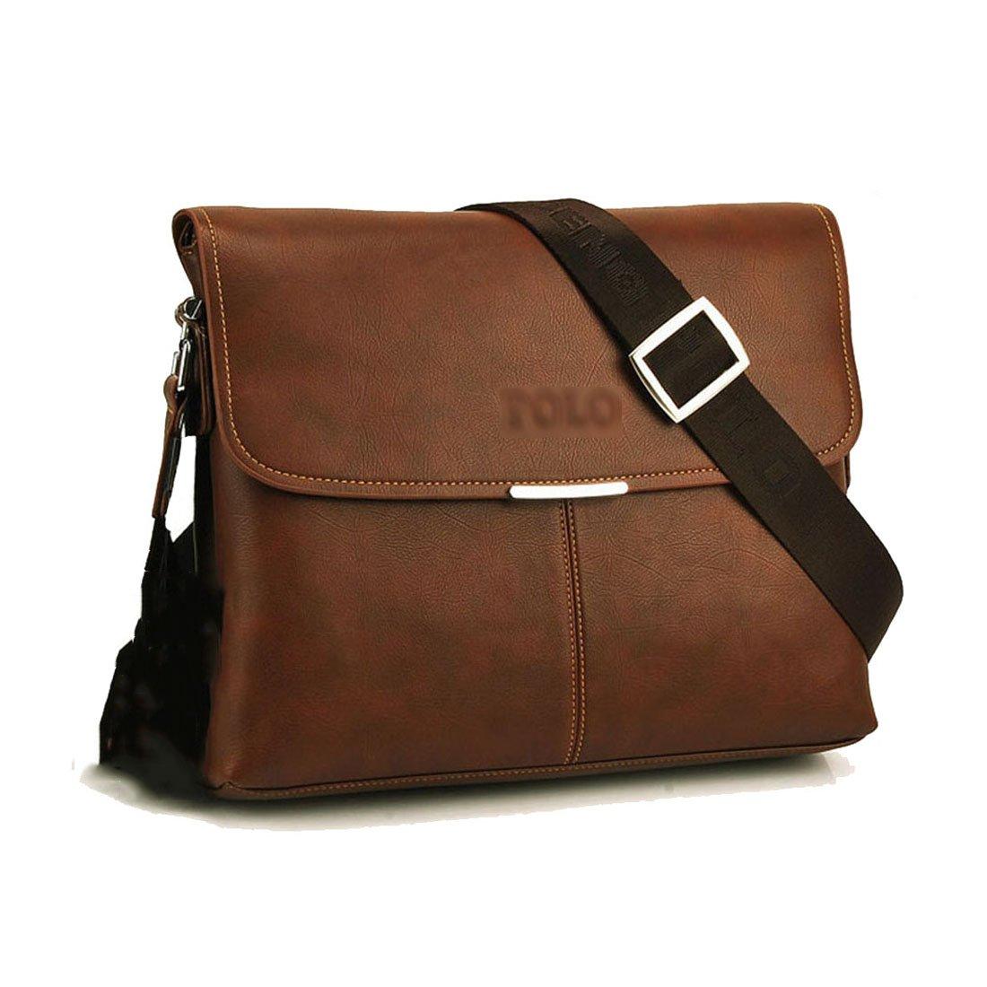 Maod Cuero Suave Bolso Mensajero del Bandoleras Hombre Vintage maletin portatil Color Sólido Bolso Negocio Maletín Clásico para Trabajo
