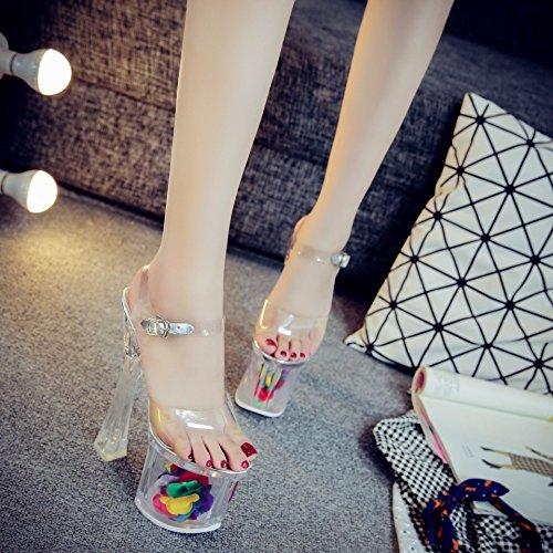Xing Lin Chaussures DÉté Pour Les Femmes Mr Crystal Clear 18Cm/20Cm Imperméable Ultra-Haute Avec Taiwan Épais Avec Des Chaussures À Haut Talon Nuit Sandales Femmes Transparent white 20 cm
