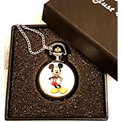 Mickey Mouse Pocket Watch Necklace - Silver Plated Chain - GIFT BOXED WITH FREE SPARE BATTERY