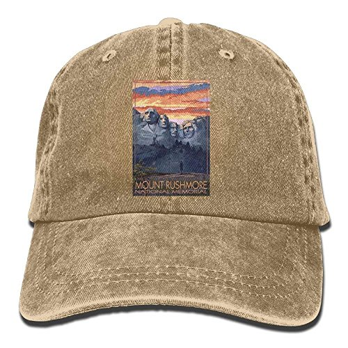 Wamnu Mount Rushmore National Memorial, South Dakota Unisex Denim Baseball Cap Adjustable Strap Low Profile Plain Hats Outdoor Casquette Snapback Hats Black