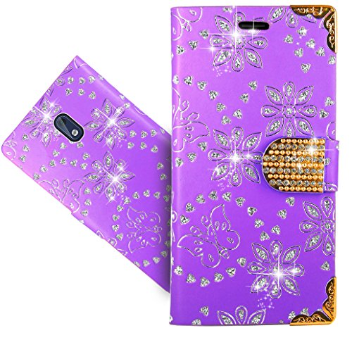 Nokia 3 Handy Tasche, FoneExpert® Wallet Case Cover Bling Diamond Hüllen Etui Hülle Ledertasche Lederhülle Schutzhülle Für Nokia 3