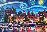 Poster 90 x 60 cm: Starry Night Over Amsterdam Canal, Van Gogh Inspiration di M. Bleichner - Stampa Artistica Professionale, Nuovo Poster Artistico