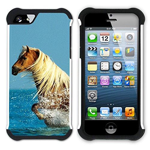 Graphic4You Pferd Tier Design Hart + Weiche Kratzfeste Hülle Case Schale Tasche Schutzhülle für Apple iPhone SE / 5 / 5S Design #6