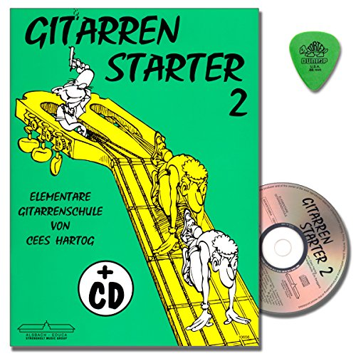 E-starter-gitarre (Cees Hartog - Gitarren Starter 2 - Gitarrenschule mit CD und Original Dunlop Plek - Lagenspiel, Bindetechnik, Quergriff, Lagenwechsel, Skordatur, Flagoletten uvm ...)