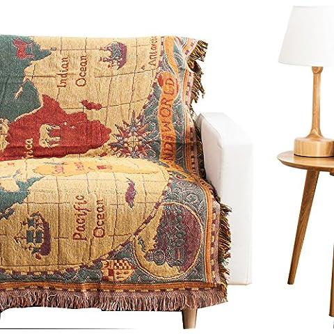 Signor Fantasy 100% coperta Decorativa in cotone con frange maglia asciugamano per letto divano World Map