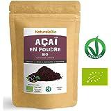Poudre de Baies d'Açai Bio [Freeze-Dried] 200g. Pure Organic Acai Berry Powder. 100% Produit au Brésil, Lyophilisé, Cru, extrait de la pulpe de baie d'acaï. Superfood riche en antioxydants, vitamines.