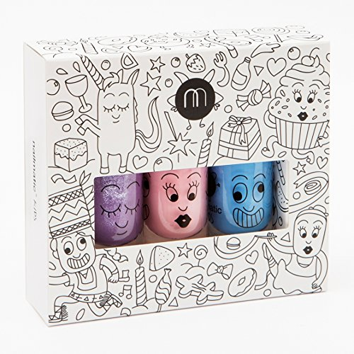 Coffret de 3 flacons de vernis à ongles Nailmatic Kids Party : Bleu, rose violet