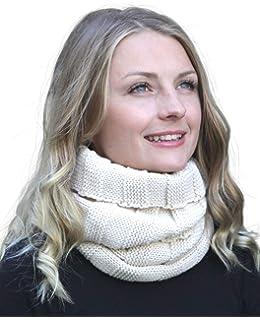 ff45d1d5ace MINAKOLIFE Femme Ensemble d écharpe et chapeau en tricot pour Winter ...