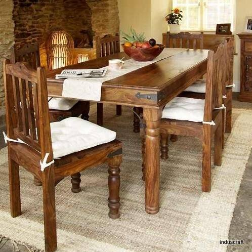 Induscraft 6 Seater Dining Table Set (Light Expresso)  available at amazon for Rs.28999