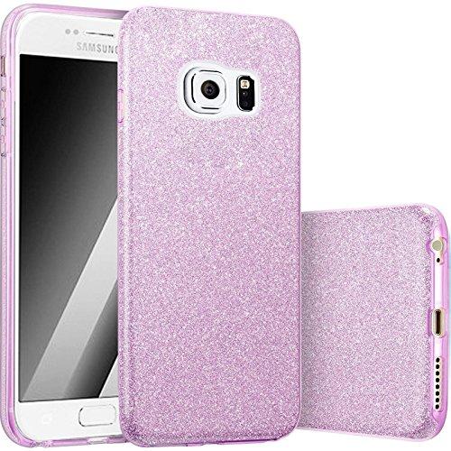 FINOO | Iphone 6 Plus / 6S Plus Rundum 3 in 1 Glitzer Bling Bling Handy-Hülle | Silikon Schutz-hülle + Glitzer + PP Hülle | Weicher TPU Bumper Case Cover | Gold Lila