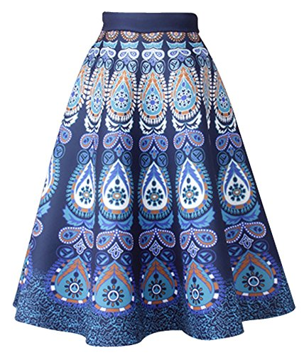 9c1b3409a17e6c Omela Damen Hohe Taille Elegant Vintage Rockabilly Scuba Rock Midi A-linien  Faltenrock 6120#