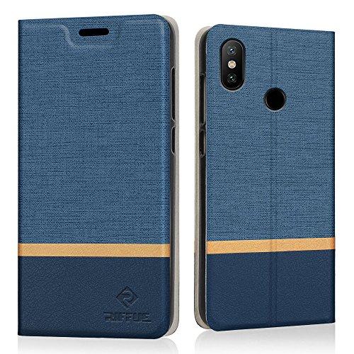 RIFFUE Funda Xiaomi Mi A2 Lite/Redmi 6 Pro, Carcasa Delgada Libro de Cuero con Tapa Cartera de Ranura y Billetera Elegante Case Cover para Xiaomi Mi A2 Lite/Redmi 6 Pro - Azul