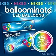 BALLOOMINATE - Globos luminosos en colores surtidos con luz LED, en paquete de 15 piezas. Excelentes para fiestas y celebraciones.
