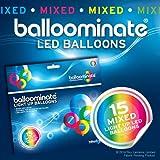 BALLOOMINATE - Globos luminosos en colores surtidos con luz LED, en paquete de 15 piezas. Excelentes...