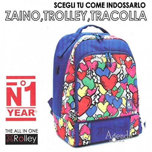 Zaino XROLLEY 3 in 1 trolley zaino e tracolla con multitasche fantasia cuori