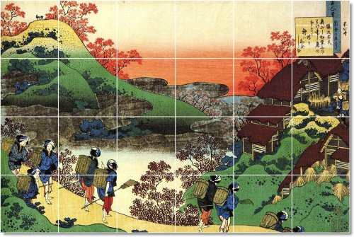 AZULEJO KATSUSHIKA HOKUSAI UKIYO-E MURAL REMODELACION IDEAS  24X 36PULGADAS CON (24) 6X 6AZULEJOS DE CERAMICA