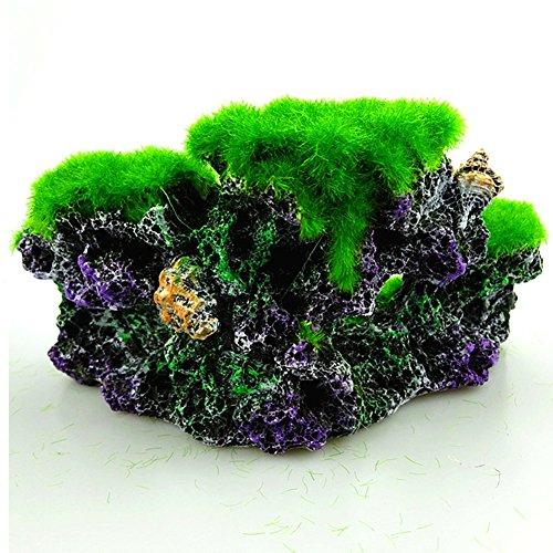 SDYDAY Aquariumdeko Korallenriff, Moos, Felsen, Harz, Meeresinsel, Steingarten, Heimdekoration, Springbrunnen, grün, 1pc