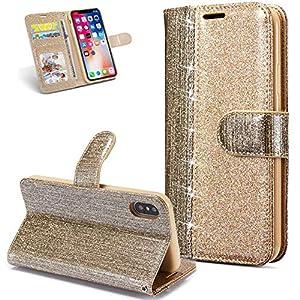 FNBK Hülle Leder Kompatibel mit iPhone X Handyhülle Glitzer Ledertasche Schutzhülle Wallet Flip Case Tasche Ultra Slim im Bookstyle Magnet Kartenfächer Stand Klapphülle für iPhone X,Gold