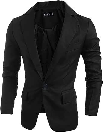 Bestgift Men's Solid Color Cotton Tops Lapel Jacket One Button Blazer Coats