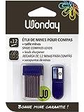 Wonderday - Custodia di 12 mine da 2 mm per compasso con temperamine