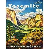 VINTAGE ADVERTISING Travel Yosemite United Airlines California USA AFICHE Cartel IMPRIMIR Poster Voyage Uni Compagnie aérienne Californie Les États-Unis d'Amérique Ancien La publicité Affiche...