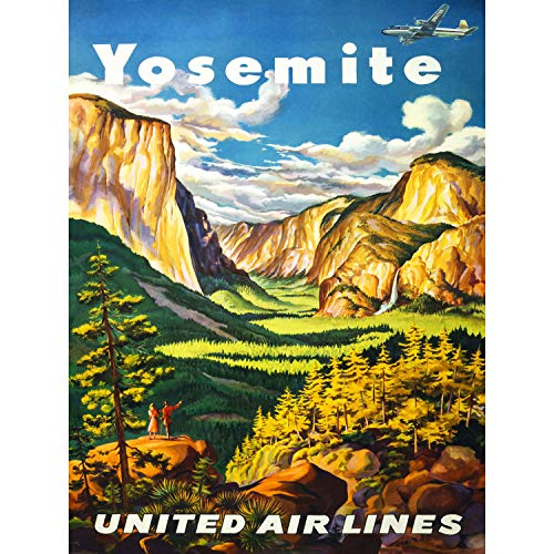 TRAVEL YOSEMITE UNITED AIRLINES CALIFORNIA USA VINTAGE ADVERTISING POSTER 2589PY - Airlines United Poster
