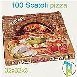 Palucart 100 scatola pizza 32x32x3 cartone pizza porta pizza termico da asporto pizzeria ristorante 100 scatoli