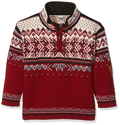Dale of Norway Kinder Vail Kids Sweater, Red Rose/Midnight Navy/Off White/Steel Silver, 10 -