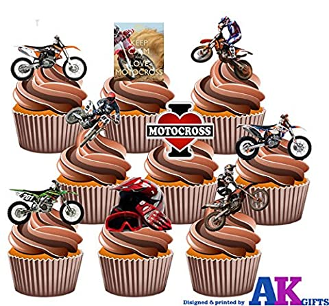 Motocross KTM Motorbike Mix Party Pack 36 Edible Wafer Cup Cake Toppers Decorations
